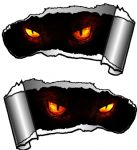 Small Pair Ripped Torn Metal Gash Design & Evil Demon Eyes Vinyl Car Sticker 93x50mm each